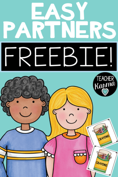 Easy way to make partners in your classroom with these free partner cards. #partnercards #classroommanagement #teacherkarma #kindergarten #1stgrade #2ndgrade #3rdgrade #4thgrade #5thgrade