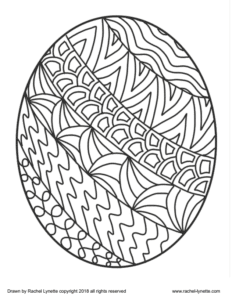 A coloring page of an Easter egg