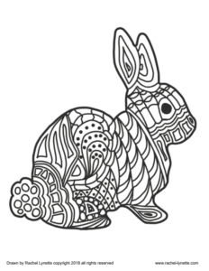 A coloring page of an Easter bunny
