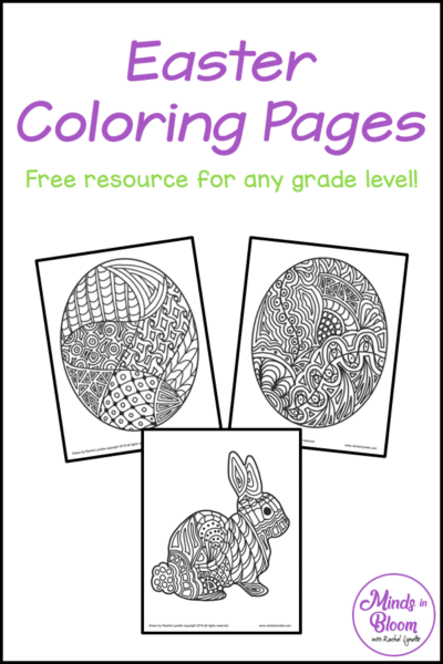 "A tall, vertical graphic that says ""Easter Coloring Pages: Free resource for any grade level"" with screenshots of three coloring pages"