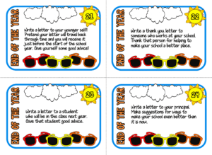 A screenshot of four task cards with end of the year reflection questions on them