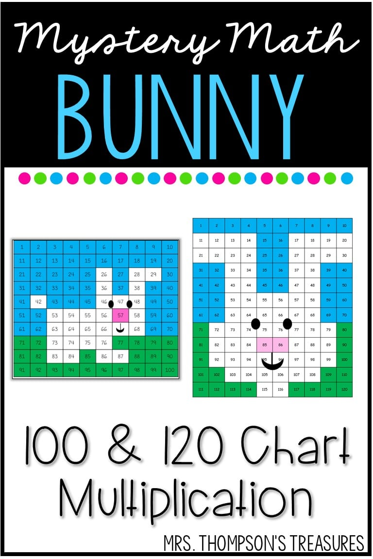 Easter spring bunny math mystery pictures