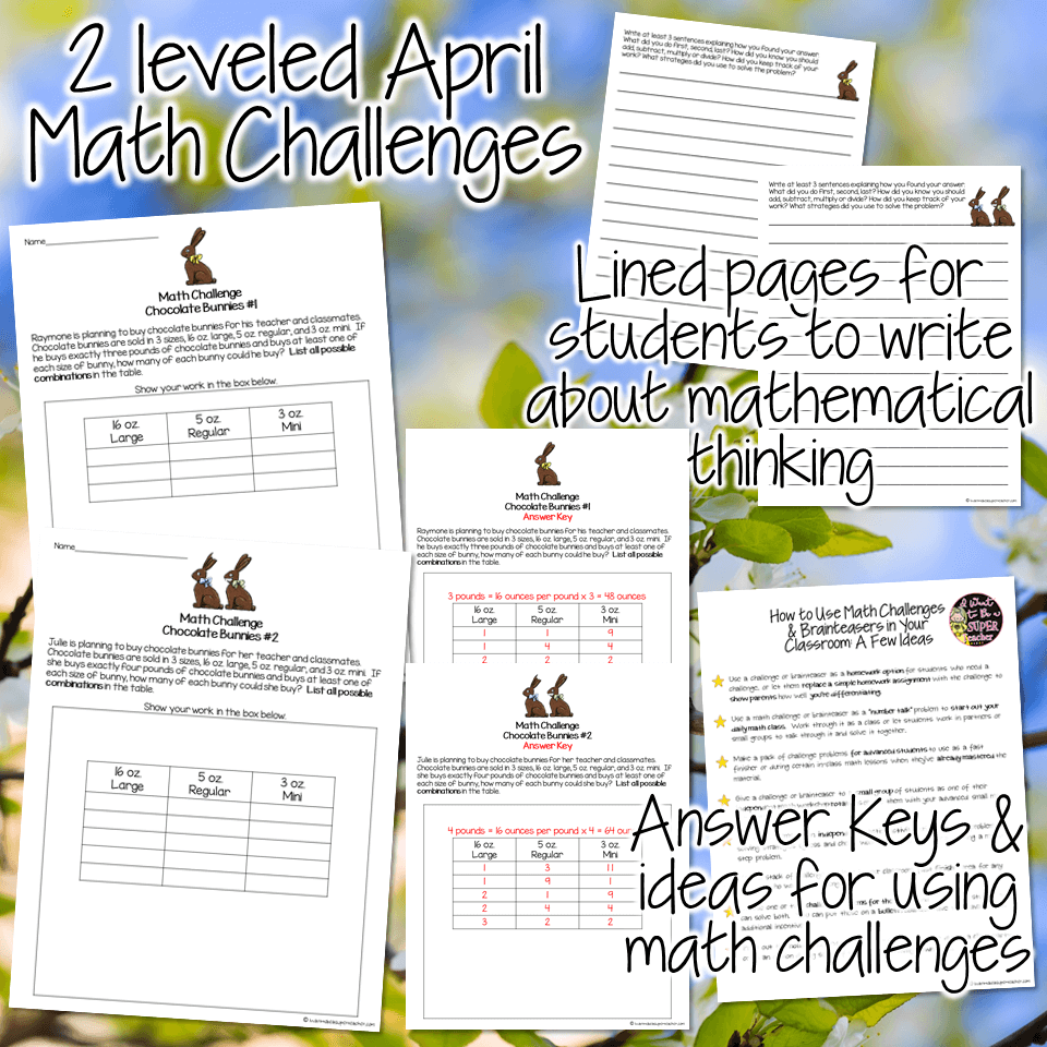FREE Easter math worksheets for 2nd and 3rd grade kids teachers can use for April math activities! These free printables are perfect for spring math centers, bell work, early finishers, enrichment, homework, or number talks. Includes two word problem printables with chocolate bunny themes + lined pages for students to write about their mathematical thinking. Fun for kids and NO PREP for teachers. Just print and go! Click for the free download. #secondgrade #thirdgrade #easter #spring