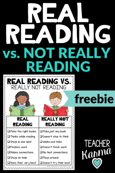 Real reading vs not really reading anchor charts and free printable. #teacherkarma #kindergarten #1stgrade #2ndgrade #3rdgrade #4thgrade #5thgrade #classroomfreebies