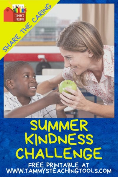 Child giving teacher an apple - Summer Kindness Challenge for Kids Free Bingo Activity