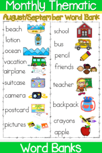 monthly vocabulary word bank