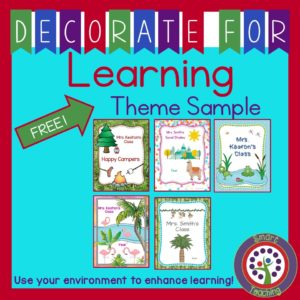 Free classroom theme decorating binder sampler
