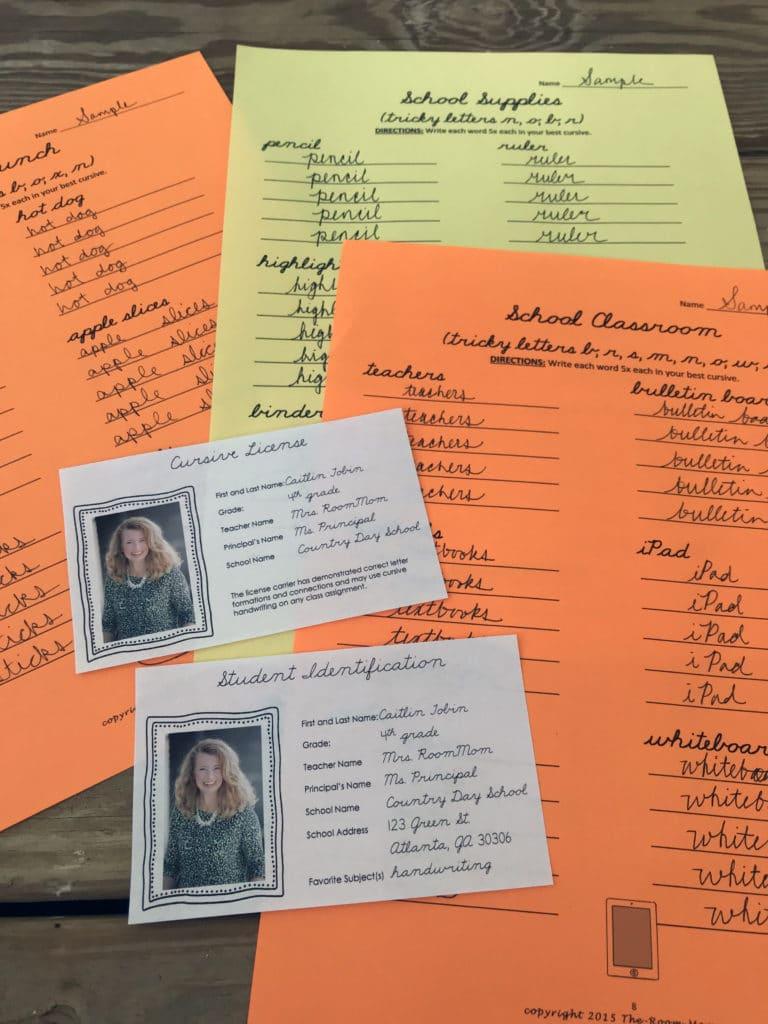 Back to school cursive handwriting