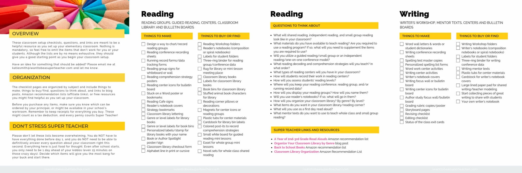 Classroom setup checklist pages reading and writing