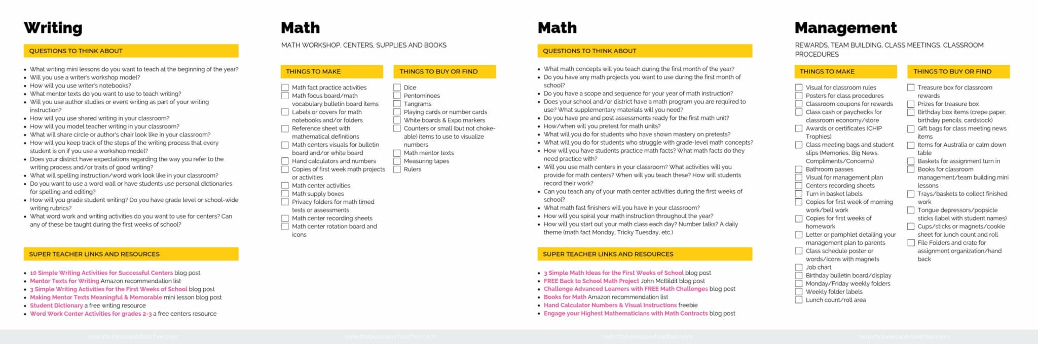 Classroom setup pages for writing, math, and managment