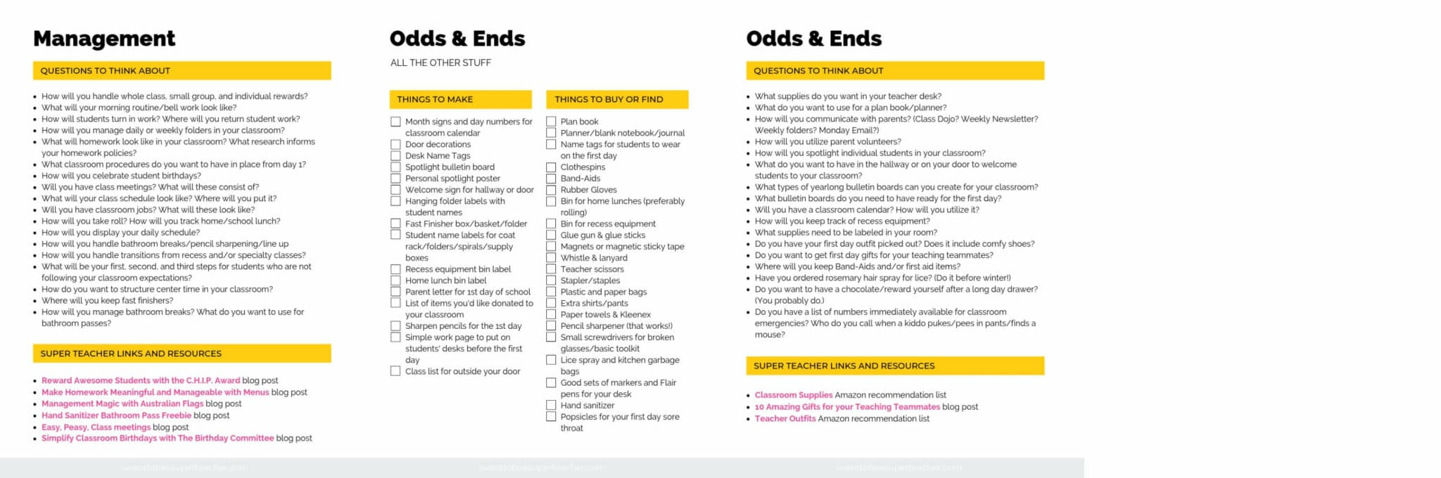 Classroom setup pages for management and odds and ends