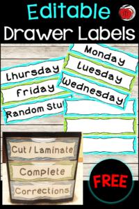 Free plastic drawer labels for classroom organization Terri's Teaching Treasures #free #organization #plasticdrawers