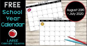 Free 2019-2020 school year calendar Terri's Teaching Treasures