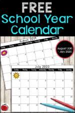 Free 2019-2020 School Calendar
