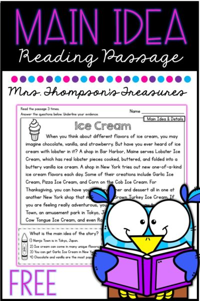 Main idea reading comprehension passage free