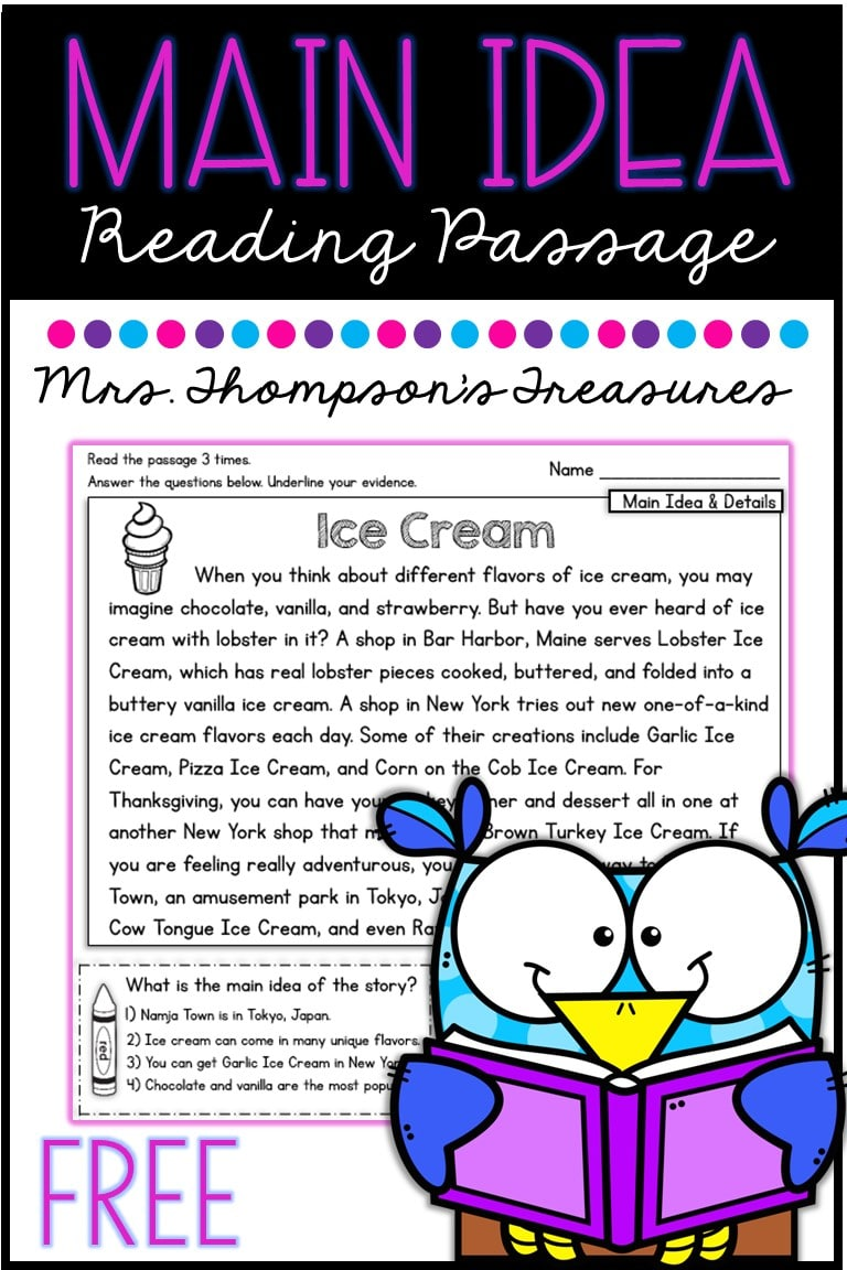 - Free Main Idea Reading Comprehension Passage - Classroom Freebies