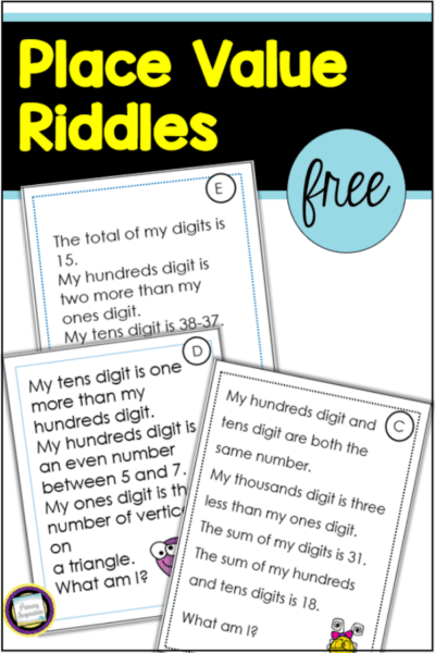free place value riddles three digit numbers four digit numbers
