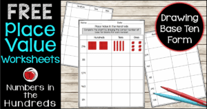 Free place value worksheets to practice drawing picture form Terri's Teaching Treasures