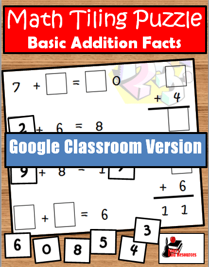 Addition Tiling Puzzle for Google Classroom - FREE
