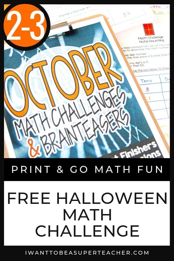 FREE Halloween Math Activity 2-3 - Classroom Freebies