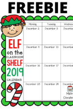 Elf on the Shelf Classroom Calendar