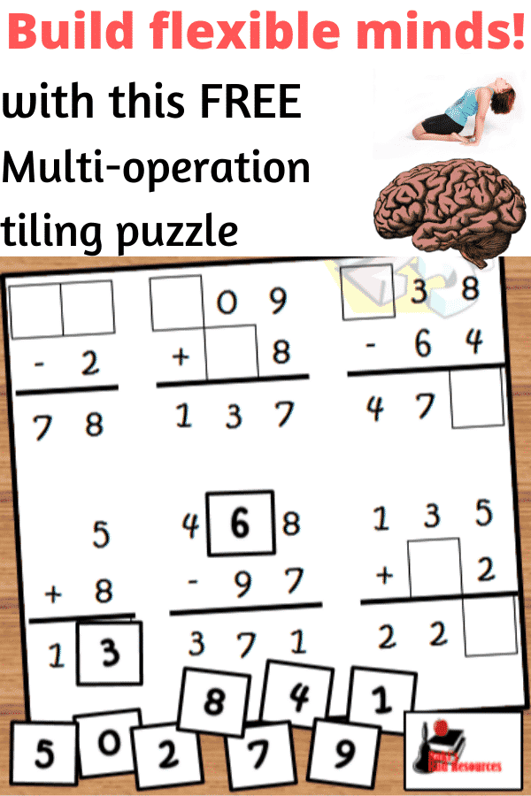 Build flexible minds with tiling puzzles that use more than one operation.