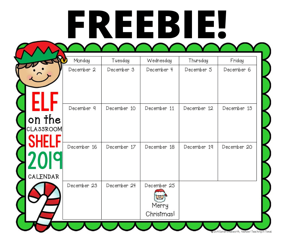 Elf On The Shelf Calendar 2021 Elf on the Shelf Classroom Calendar   Classroom Freebies