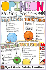 FREE: OPINION WRITING/PERSUASIVE WRITING TRANSITION WORDS POSTERS
