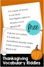 Teach Thanksgiving Vocabulary with Riddles