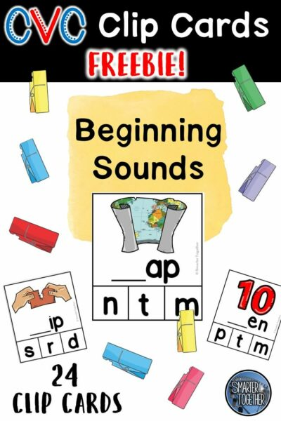 Beginning Sounds CVC Clip Card Freebie