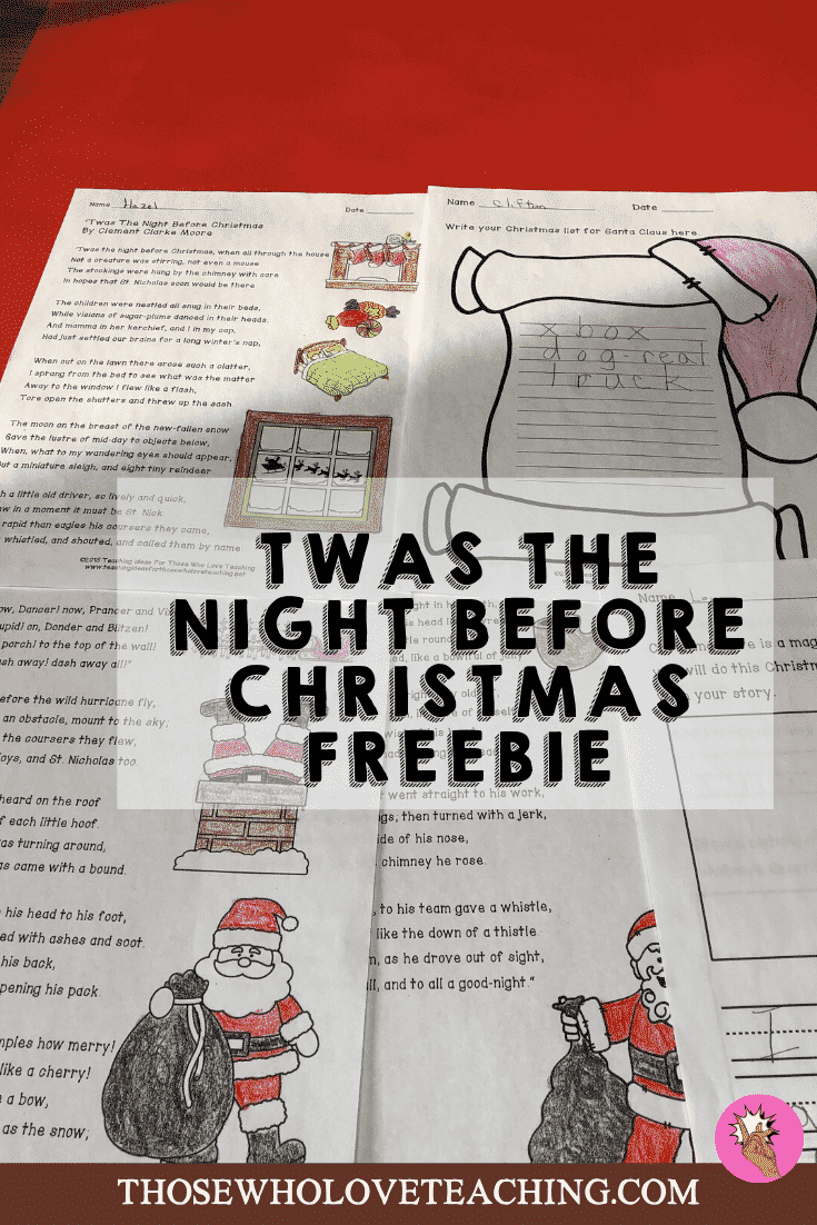Free activity for Twas The Night Before Christmas.  Free printable, and lesson on this classic poem.  Perfect for kids to practice reading and writing skills.  Students will enjoy the coloring sheets included with the free lesson.