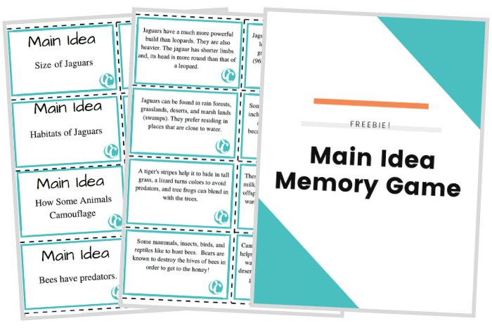 main idea memory game
