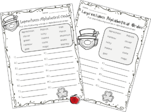 Free St. Patrick's Day differentiated alphabetical order worksheets Terri's Teaching Treasures