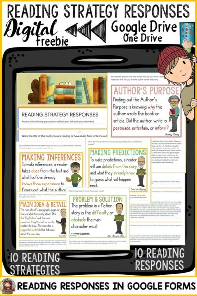 reading strategy response digital paperless resource google classroom
