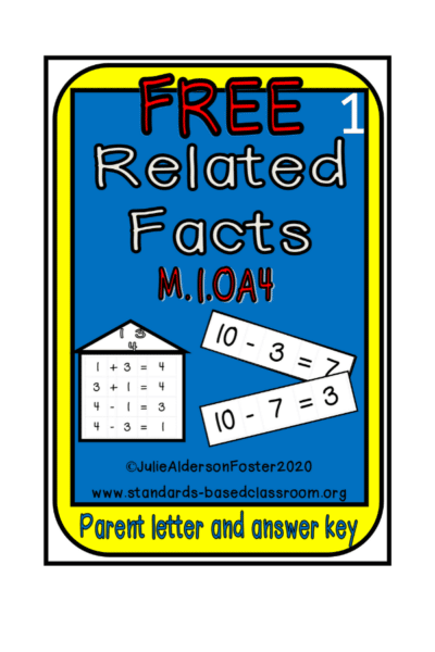 Free related facts practice for first grade math