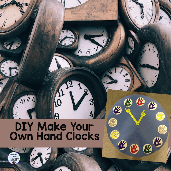 You can make your own hand clock with the templates in this product.This DIY hand clock is great for teaching the concept of five minute intervals. It is visual and the kids love to use it because they made it. #DIYclock #fiveminuteintervals #makeyourownhandclock