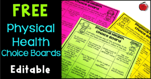 Free Physical Health Choice Boards Terri's Teaching Treasures