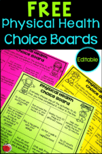 Physical Health Choice Boards For Distance Learning