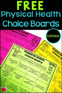 Free Physical Health Choice Boards Terri's Teaching Treasures