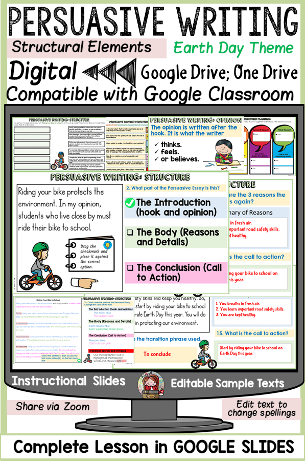 opinion writing persuasive digital writing in google slides for google classroom