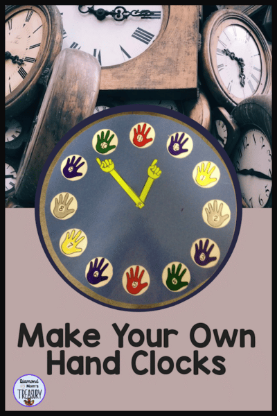 You can make your own hand clock with the templates in this product. This DIY hand clock is great for teaching the concept of five minute intervals. It is visual and the kids love to use it because they made it. #DIYclock #fiveminuteintervals #makeyourownhandclock