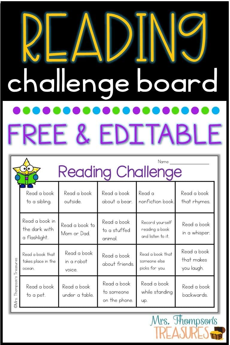 Reading challenge choice board