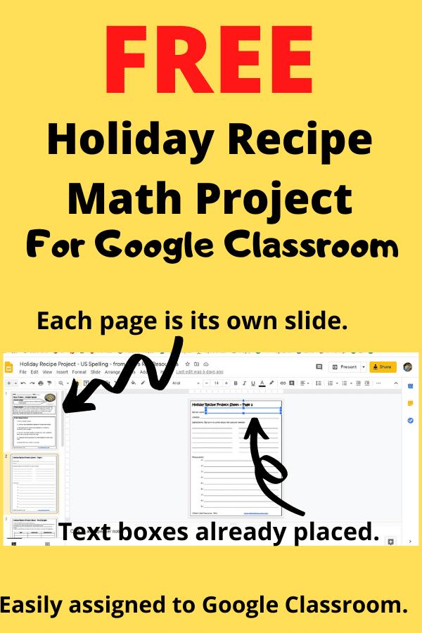 FREE holiday recipe math project