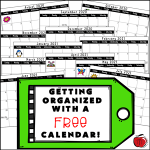 Free school year calendar from Terri's Teaching Treasures 12 month printable calendar