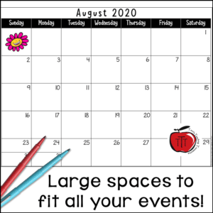 Free school year calendar from Terri's Teaching Treasures Large calendar spaces