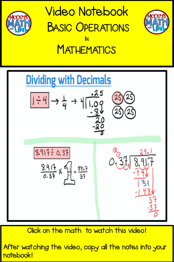 Video Notebook - Dividing with Decimals