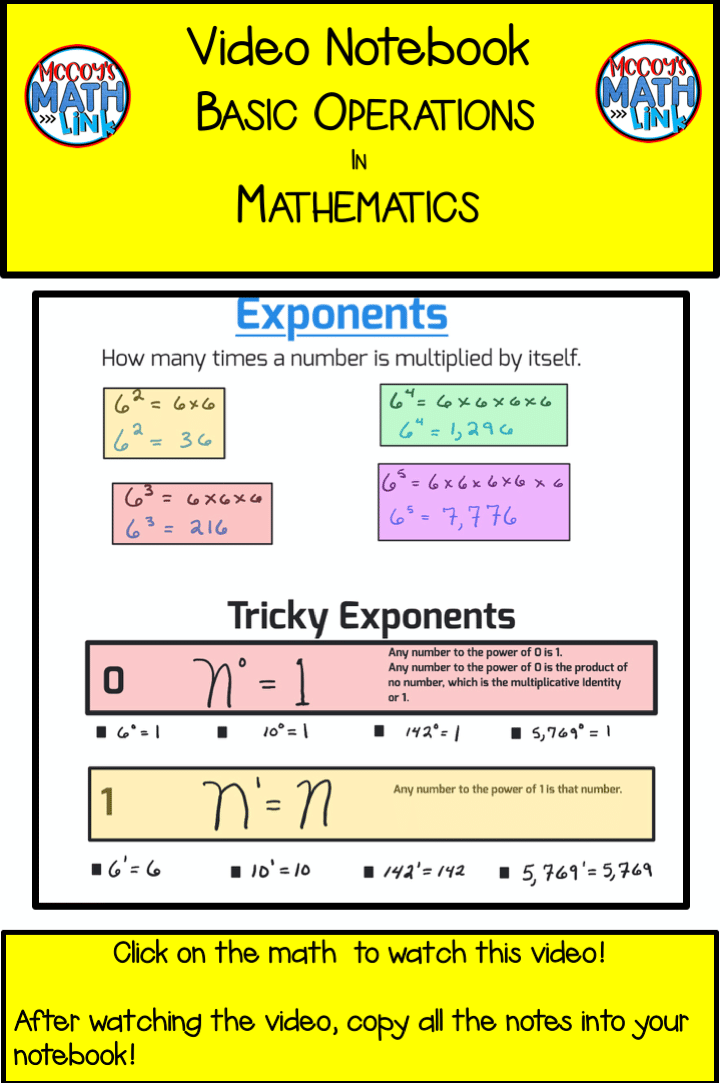 Video Notebook - Exponents