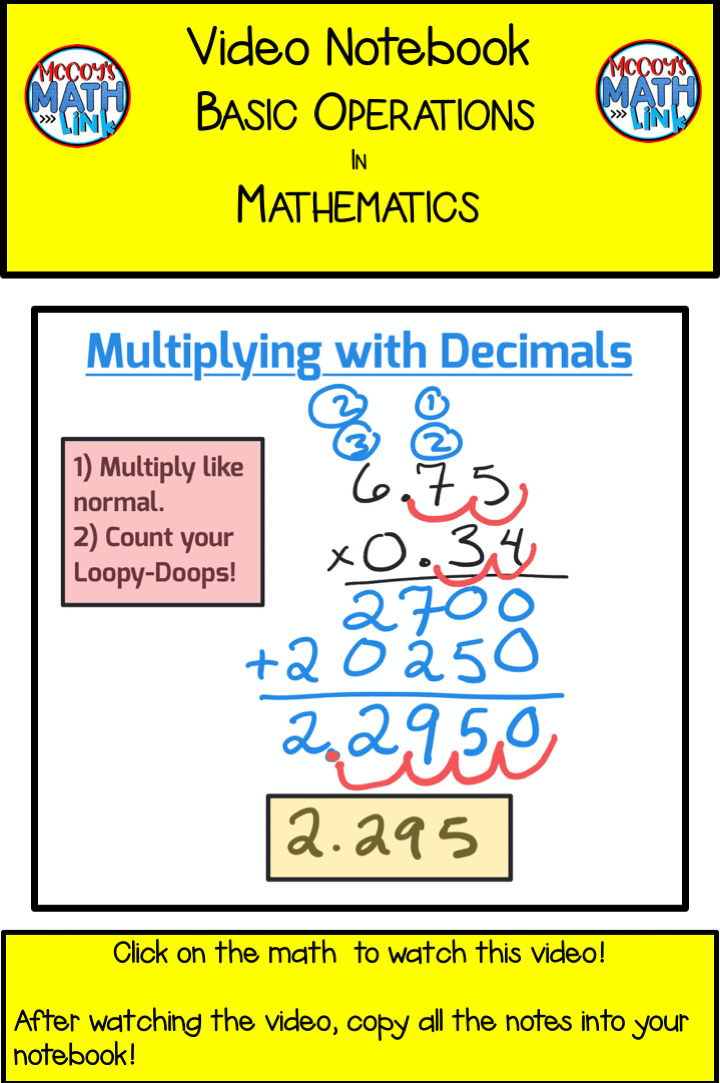 Video Notebook - Multiplying with Decimals