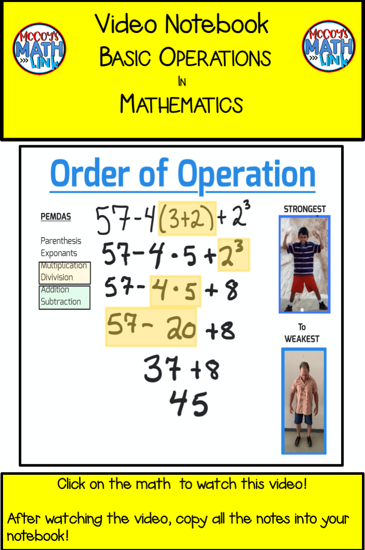 Video Notebook - Order of Operations