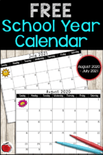 2020-2021 School Year Calendar FREE